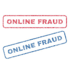 online fraud textile stamps vector image
