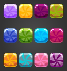 Set of shiny square button candy vector image vector image