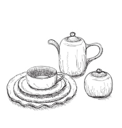 Tea time set with dishes vector image