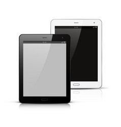 white and black tablet pc mockup vector image vector image