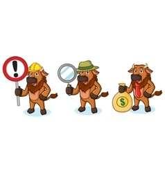 Bison Mascot with money vector image vector image