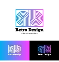 Bright abstract gradient logo q and b vector