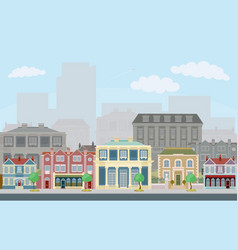 urban street scene with smart townhouses vector image