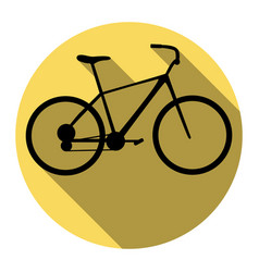 bicycle bike sign flat black icon with vector image