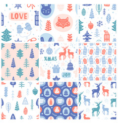 christmas doodles seamless pattern set vector image