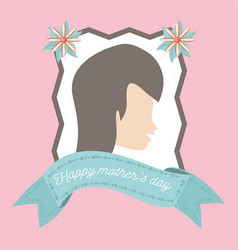 Happy mothers day card woman figure decoration vector