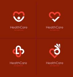 health care logo set with heart shape vector image