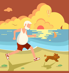 man jogging with dog vector image vector image