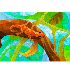 stained glass with a lizard in the forest vector image