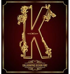 Calligraphic font Letter K vector image