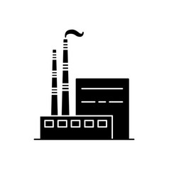coal power plant silhouette icon in flat style vector image vector image