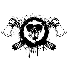 grunge skull with axes 2 vector image vector image