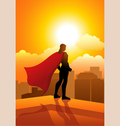 superhero standing on the edge of a building vector image