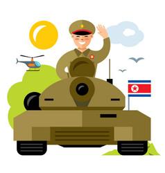 tankman north korea flat style colorful vector image
