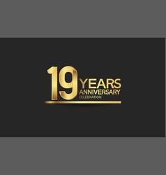 19 years anniversary celebration with elegant vector