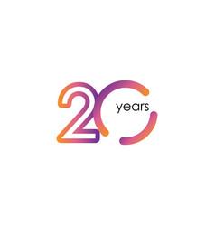 20 years anniversary color full elegant vector