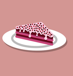 a piece of cake on valentine s day vector image