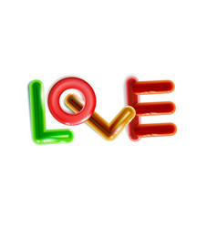 abstract inscription glossy love multicolor vector image