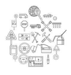 apparatus icons set outline style vector image