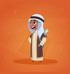 arab boy small cartoon character muslim male vector image