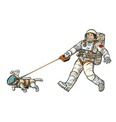 astronauts man and dog isolated on white vector image