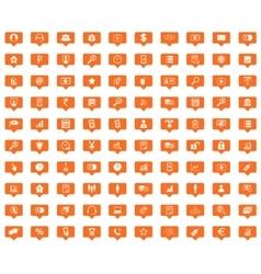 B2B orange message icons set vector