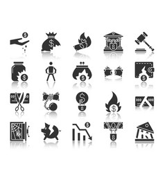 Bankruptcy black silhouette icons set vector
