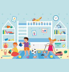 Banner with children cleaning dirty kids play room vector