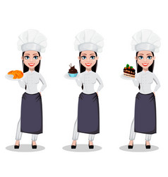beautiful baker woman in professional uniform vector image