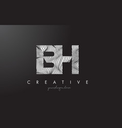 Bh b h letter logo with zebra lines texture vector