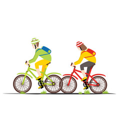 Bicycle rider couple in flat style vector