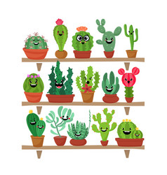 Big set of cute cartoon cactus and succulents with vector