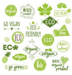 Bio eco organic logos icons labels tags hand vector