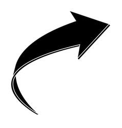 black flat arrow bent icon vector image