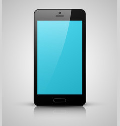 Black mobile phone with blue screen vector