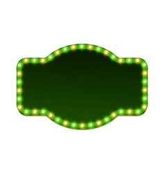 Blank 3d retro light sign with shining bulbs vector