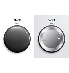 blank black glossy badge or button 3d render vector image