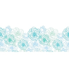 blue line art flowers horizontal seamless pattern vector image