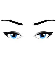 Blue woman eyes icon vector