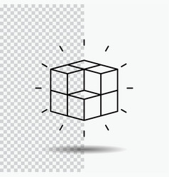 Box labyrinth puzzle solution cube line icon on vector