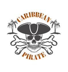 Caribbean pirate emblem with corsair skull vector