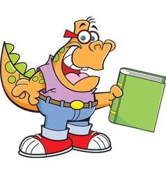 Cartoon dinosaur holding a book vector