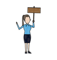 Cartoon woman holding blank board campaign image vector