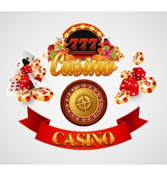 Casino background with cards chips craps and vector image