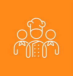 Chef team icon line business concept on yellow vector