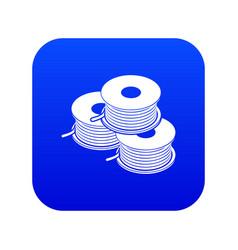 Coil for d printer icon blue vector