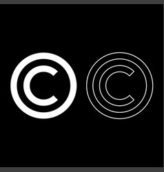copyright symbol icon set white color flat style vector image vector image