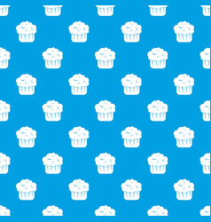 cupcake pattern seamless blue vector image