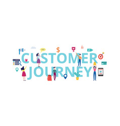 Customer journey banner - shopping people standing vector