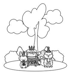 cute adorable animals cartoon vector image